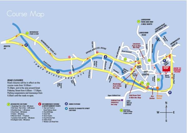 The course map for the Bath Half Marathon
