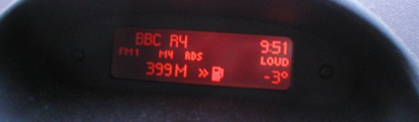 My dashboard showing -3, which was actually comparatively warm!