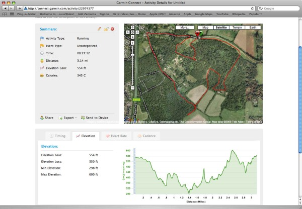 Screenshot showing the elevation profile of a run and the course taken in Google maps.