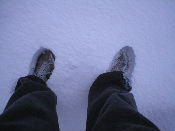 My feet in the #uksnow, quite literally up above my ankles.