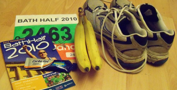 Some of the kit I'll be taking for the Bath Half - including snacks and safety pins.