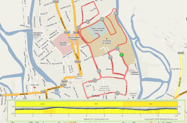A map and elevation profile for the Oxford Town and Gown 10k race