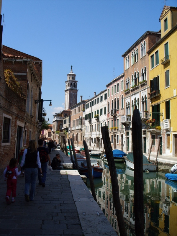 Reflections in a venice canal with lots of light and shade.