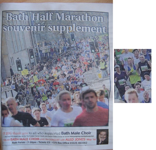 I'm on the front cover of the race supplement from the 2010 Bath Half Marathon