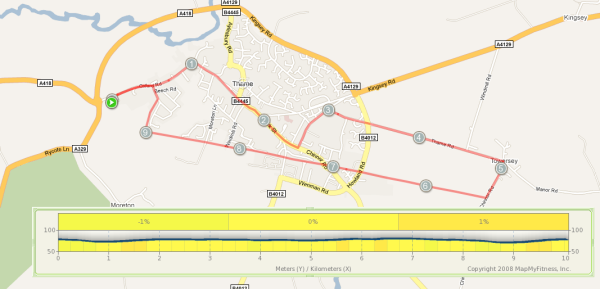 The route of the Thame 10k