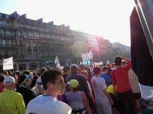 The starting pen of the Paris Marathon
