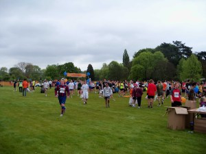 Crowds passing through the finish line at the Oxford Town & Gown 2010