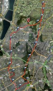 The route I actually took, adding a few extra miles to the half-marathon