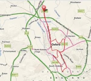 The map of my evening run through Oxford