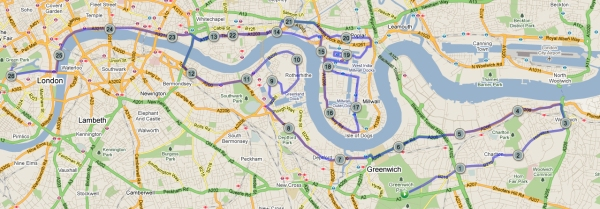 A map of the Virgin London Marathon route