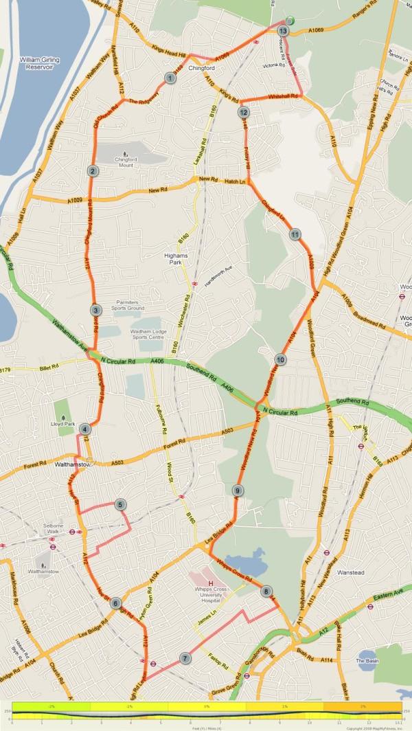 Waltham Forest Half Marathon route