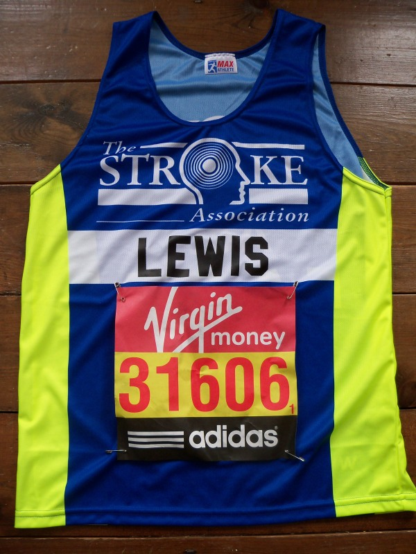 My Virgin London Marathon race number (31606) and top