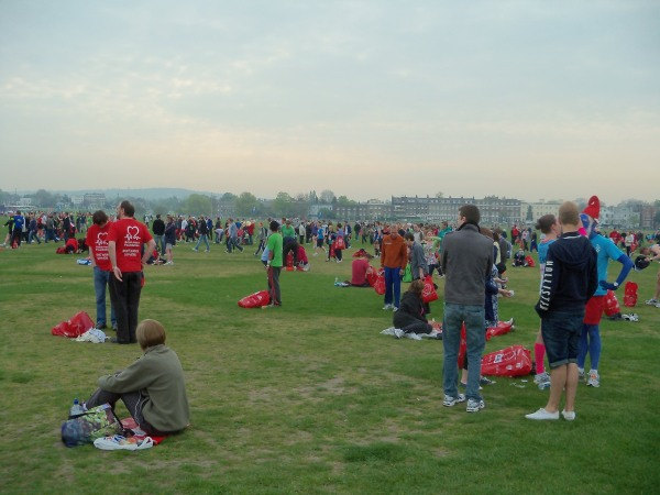 The runners gathering for the 2011 Virgin London Marathon at Blackheath