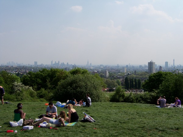 The view from Hampstead Heath, looking towards the city of London