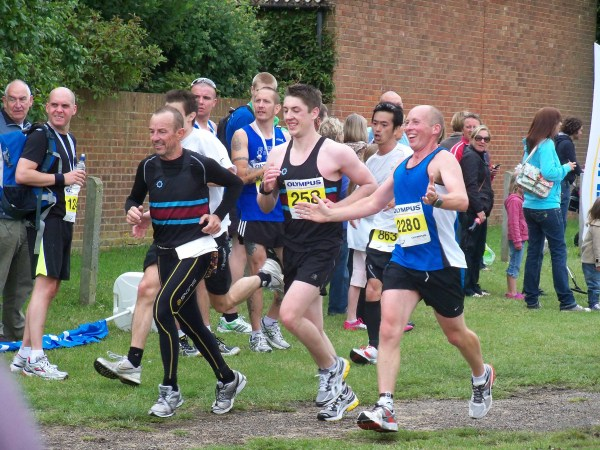 A small pack of runners on the final stretch of the Southend Half-marathon