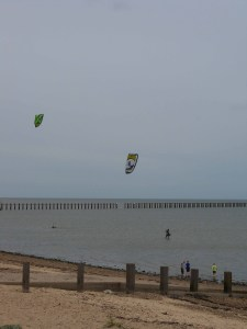 Kite surfers at Southend-on-Sea