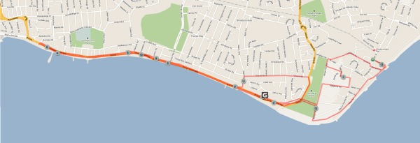 The route of the Southend Half-marathon