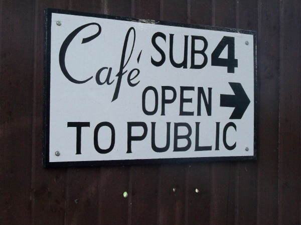 A sign for the Cafe Sub-4 at the Iffley Road track in Oxford