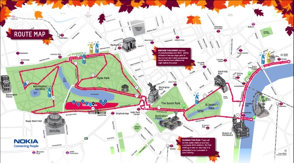 The route of the Royal Parks Half-marathon