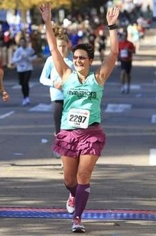 A runner completing a marathon