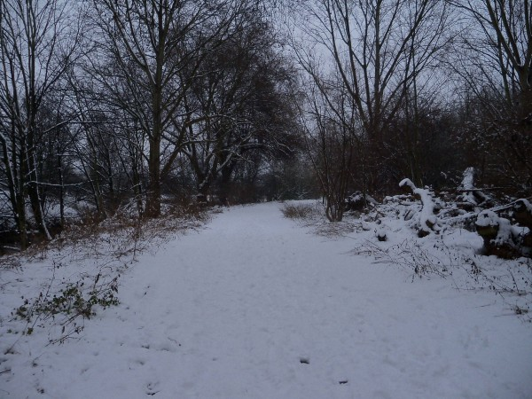 Fresh snow on the path around Hackney Marshes