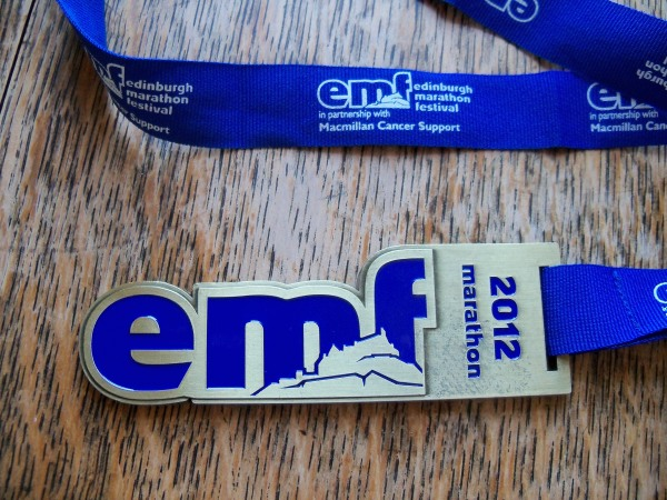 The finishing medal from the Edinburgh Marathon