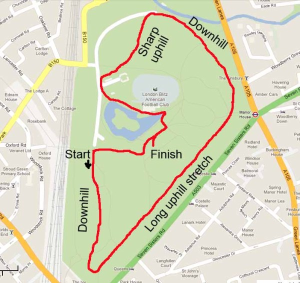 A map of the Finsbury Park Parkrun course
