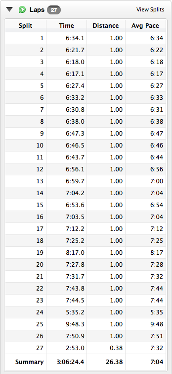 My splits from the Virgin London Marathon 2011