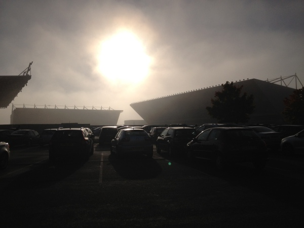 Kassam stadium in the fog