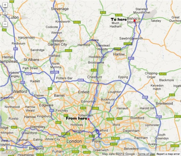 Route from Tottenham to Bishop's Stortford