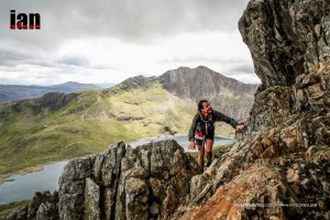 Steve Birkinshaw on Crib Goch - Ciancorless.com Berghaus Dragon's Back Race 2015