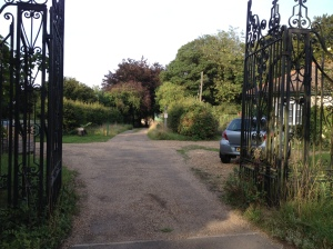Gates leading to the trails of Wandlebury Country Park